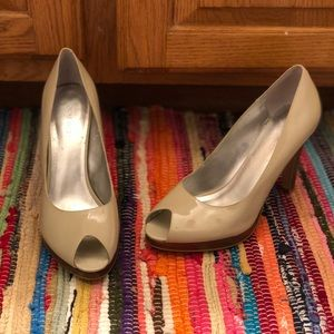 None West peep-toe nude heels size 9